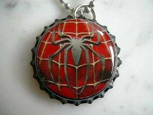 SPIDERMAN SUPER HERO SPIDER SYMBOL BOTTLE CAP NECKLACE