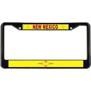 New Mexico NM State Flag Black License Plate Frame Metal Holder