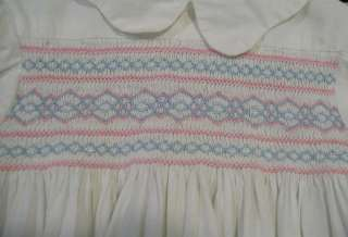 Vintage baby girls white cotton dress with elastic gathered bodice in