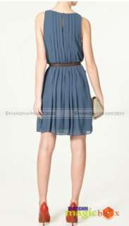 Women Blue Pleated Chiffon Kate Formal Party Dress #093