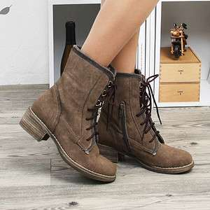 Womens Brown Lace Up Zip Combat Boots Shoes US 6~8