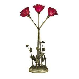 Dale Tiffany Lighting TT101257 Rose Three Light Table Lamp in Antique