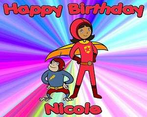 Personalized Word Girl Theme Edible Cake Topper Image