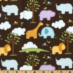 Safari Animals Brown/Multi Fabric By The Yard Arts, Crafts & Sewing