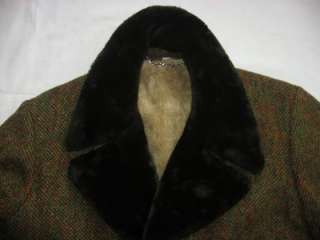 Mens VTG Great Western Faux Fur Collar Coat Jacket 40
