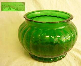 Art Deco GREEN GLASS BOWL FLOWER VASE VINTAGE A.L.R. Co