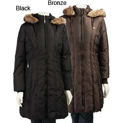 Anne Klein Womens Down Coat with Faux Fur Trim