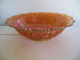 VTG IMPERIAL DIAMOND LACE MARIGOLD CARNIVAL GLASS BOWL