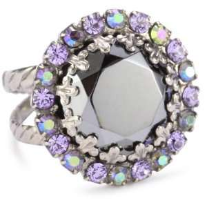 Chantilly Lace Circular Crystal Adjustable Silver Tone Ring Jewelry