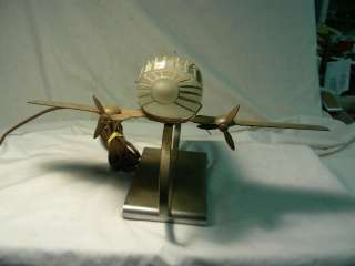 RARE ORIGINAL ART DECO CHROME FIGURAL AIRPLANE TABLE LAMP, PATENTED