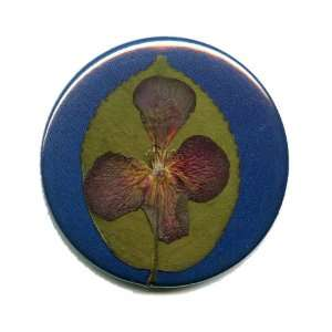 Pocket Mirror Blue with Pressed Leaf and Purple 4 Petal
