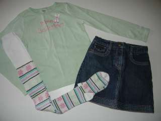 Gymboree Winter Ballerina Prima Top Denim Skirt Tights 9 JA