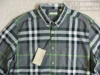 NWT BURBERRY BRIT Mens Check Long Sleeve Shirt Size XXL Mid Grey