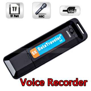 Disk Digital Audio Voice Recorder Pen USB Flash Drive TF Card Slot