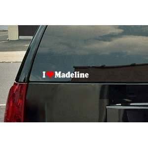 I Love Madeline Vinyl Decal   White with a red heart