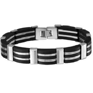 Mens Stainless Steel and Rubber Link Bracelet 8 1/8 in.