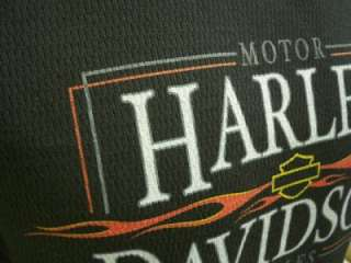 Harley Davidson Las Vegas Dealer Long Sleeve Tee T Shirt Waffle BLACK