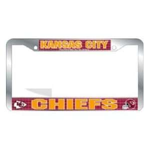 Kansas City Chiefs License Plate Frame Chrome Deluxe NFL