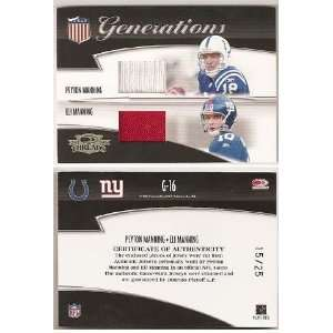 Eli and Peyton Manning Game Used Jersey Card   Jerseys