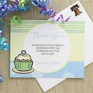 Blue Personalized Boys Thank You Cards   Cupcakes Health