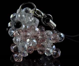 New Cute Dog Handmade Crystal Glass Beads Cell Phone PDA Charm  Free