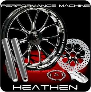 BLACK PERFORMANCE MACHINE HEATHEN FRONT WHEEL SINGLE ROTOR HARLEY FLH