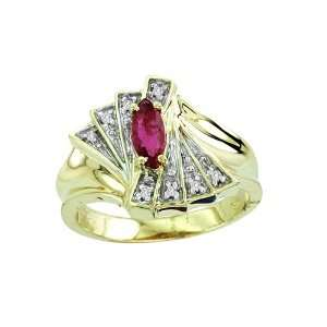 0.78 CTW DIAMOND & MARQUISE RUBY RING 14K YELLOW GOLD
