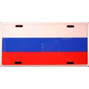 Russia Russian Country Flag Embossed Metal License Plate Auto Car Tag