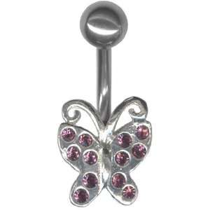 Sterling Silver Multi Jeweled Butterfly Belly Ring 14g 3/8 Jewelry