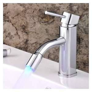 Centerset Contemporary Chrome Bathroom Sink Faucet
