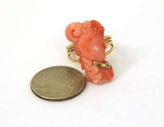 VINTAGE ART NOUVEAU 14K GOLD CORAL CAMEO DIAMOND RING