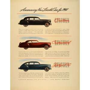 Ad Lincoln 1941 Cars Custom Continental Zephyr V12   Original Print Ad