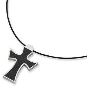 Stainless Steel Leather Cord Carbon Fiber Cross Necklace Jewelry