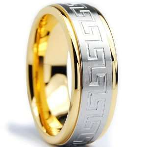 Plated Stainless Steel Ring Wedding Band with Greek Key Design Size 11