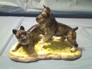 VINTAGE SHAFFORD TWO SCHNAUZER PLAYFUL PUPPY DOGS FIGURINE #112 JAPAN