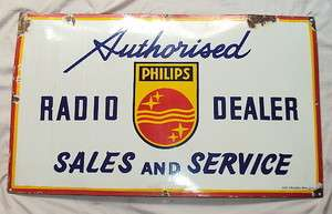 PHILIPS RADIO Porcelain Sign DEALERS MUSEUM QUALITY RARE SIGN c1930s