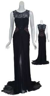 TADASHI SHOJI Navy Romantic Silk Chiffon Beaded Lace Evening Gown