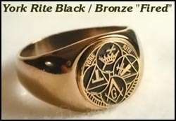 MASON MASONIC YORK RITE ROUND BLACK LOGO STAINLESS STEEL GOLD RING