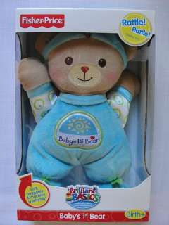 FISHER PRICE BRILLIANT BASICS BABYS 1ST BEAR, Blue, Boy, NEW