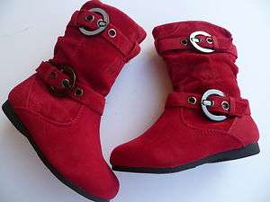 RED BOOTS SHOES YOUTH KIDS GIRLS SIZE 9 4