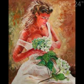 ROMANCE WHITE Original MODERN Knife Canvas Oil Painting YARY DLUHOS