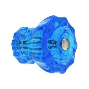 Large Fluted Peacock Blue Glass Cabinet Knob With Nickel
