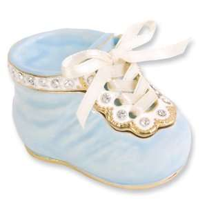 Enameled & Crystal Blue Baby Bootie Trinket Box Jewelry
