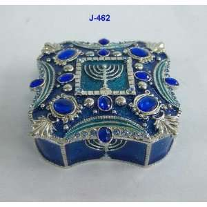 Blue Enamel Menorah Jewelry Trinket Box With Crystals