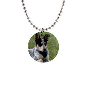 Australian Cattle Puppy Dog Button Necklace B0020