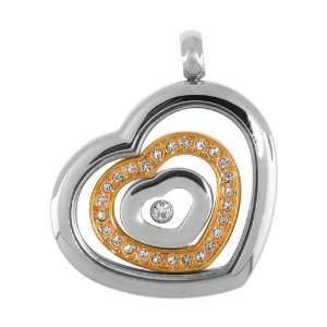 Jewelry Pendants 316L Stainless Steel, Cubic Zirconia Hearts (Pendant