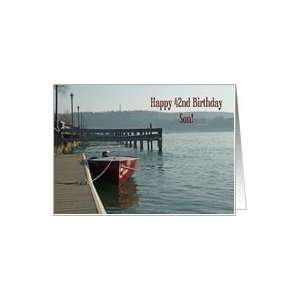 Fishing Boat 42nd Son Birthday Card Card  Toys & Games