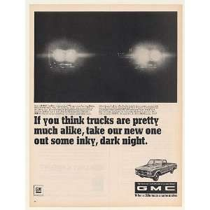 1967 GMC Pickup Truck Four Headlights Dark Night Print Ad