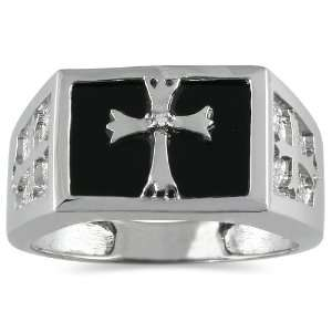 Mens Onyx and Diamond Cross Ring in 10K White Gold SZUL Jewelry