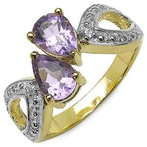 Carat Genuine Amethyst & White Topaz Sterling Silver Gold Plated Ring